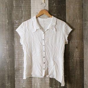 Babette SF White Crinkle Asymmetrical Hem Short Sleeve Blouse Top